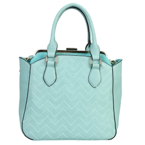 Faux Leather Handbag with Zigzag Design 35909 - Green