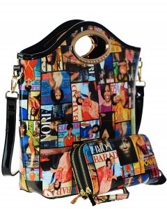 Magazine Combo Wallet Print Patent Shoulder Design Handbag Obama Combo 3602 multi