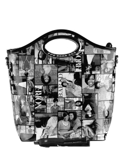 Magazine Combo Wallet Print Patent Shoulder Design Handbag Obama  3602 BLACK