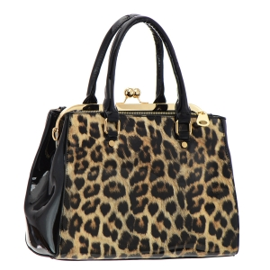 Leopard Print Patent Leather Handbag 36058 - Black