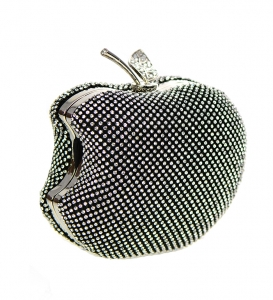 Rhinestone Apple Shape Metal Clutch Purse 82852 3609 -Black