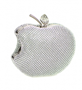 Rhinestone Apple Shape Metal Clutch Purse 82852 3609 -Silver