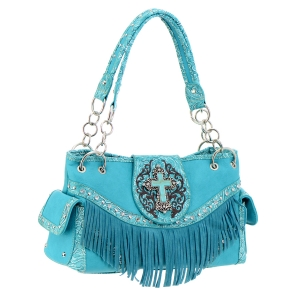 Faux Leather Western Handbag 36106 - Turquoise