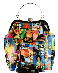 Fashion Magazine Print Faux Patent Leather Handbag With Gold Embellishments 3613  MULTI