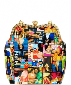 Magazine Combo Wallet Print Patent Shoulder Design Handbag Obama  3613 MULTI