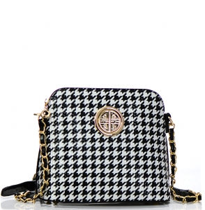 Houndstooth Patent Leather Gold Circle Accent Messenger Bag H025 36176 Black