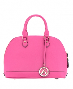 Alysa Faux Leather Shoulder HandBag 504831F 36205 Fuchsia