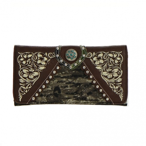 Faux Leather Flower Print Wallet MT1MJ7003 36263 - Brown