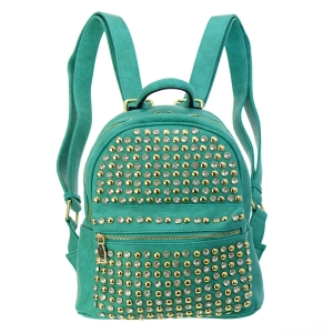 Rhinestone Faux Leather Backpack 36272 KT7558 - Mint
