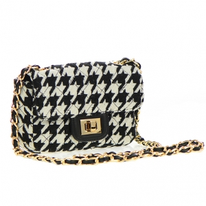 Square Patent Quilted Fabric Handbag JY0046 36438 Black
