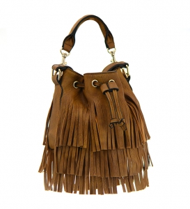 Faux Leather Fringe Hobo Bag UN00251 36469 Brown