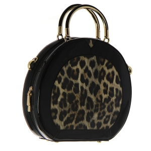 Pantent Leather Leopard Print Handbag WL101 36471 - Brown