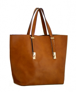 Faux  Leather Tote Shoulder Bag UN0040 36533 Brown