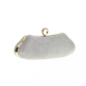 Rhinestone Metal Clutch Purse 82852 36539 - Silver