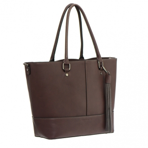 David Jones Faux  Leather Tote Shoulder HandBag 3944-2 36548 D-Brown