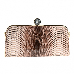 Animal Print Clutch Purse Diamond top lift-lock closure CL-113 36571 - Coffee