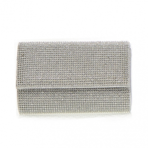 Rhinestone Metal Clutch  Purse CLR-1213 36577 -Silver