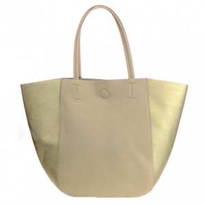Mms Design Studio Faux Leather Tote Shoulder HandBag Bgs 6289 36580 Beige/Gold