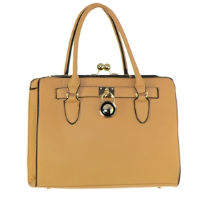 Faux Leather Shoulder HandBag 62177 36592 Lightbrown