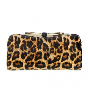 Patent Leopard Pattern Metal Clutch Purse CL -111 36625 Leopard