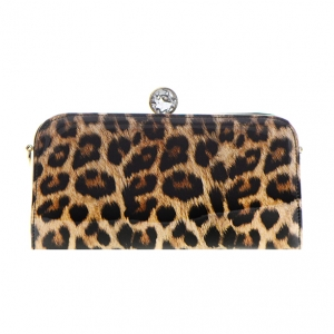 Patent Leopard Pattern Diamond Metal Clutch Purse CL -117 36626 Leo