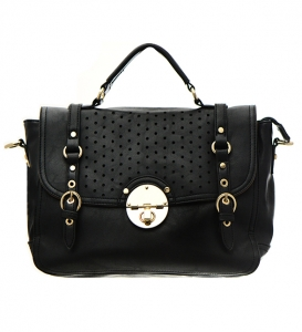 Faux Leather Shoulder Bag CM0357 36647 Black