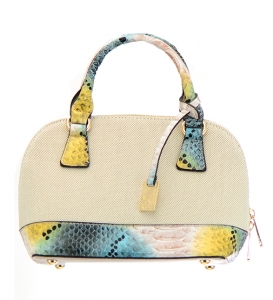 David Jones Canvas Animal Skin Leather Handbag 5023-1 36672 Beige