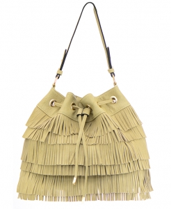 Faux Leather Fringe Hobo Bag S-0432 36686- Stone