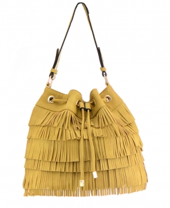 Faux Leather Fringe Hobo Bag S-0432 36686- Tan