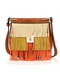 Faux Leather Fringe Purse  D-0300 36690 - Brown