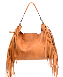 Faux Leather Fringe Handbag D-0293 36694 -Brown