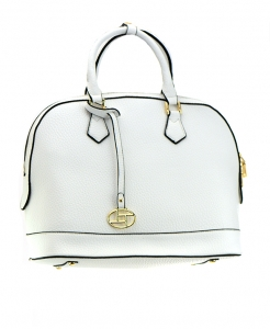 Faux Leather Shoulder HandBag T1012C 36723 White