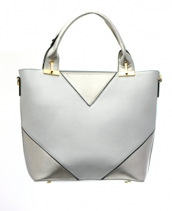 Faux Leather Shoulder HandBag L0259 36730 Silver