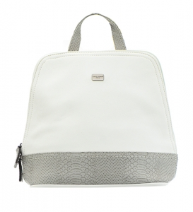 David Jones Canvas Leather Backpack 5041-3 36783 White