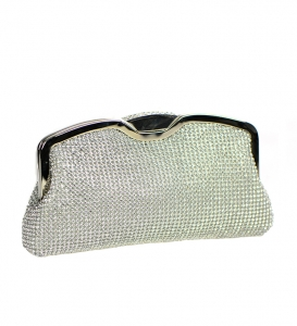 Rhinestone Metal Clutch Purse 1509-MAY 36804 Silver