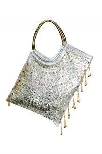 Faux Leather, Crocodile Accent with Chain and Rhinestones, Shoulder back 6632 36822  - Silver