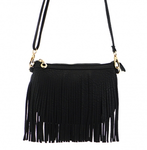 Faux Leather Fringe Hand Bag E0901 36826 black