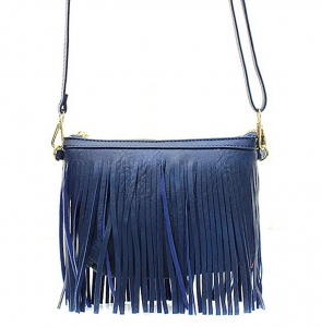 Faux Leather Fringe Hand Bag E0901 36826 Navy