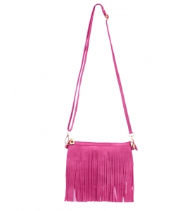Faux Leather Fringe Hand Bag E0901 36826 Pink