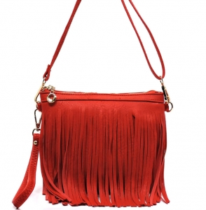 Faux Leather Fringe Hand Bag E0901 36826 Watermelon