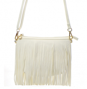 Faux Leather Fringe Hand Bag E0901 36826 White