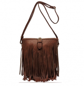 Faux Leather Fringe Hand Bag E090 36831 Chocolate