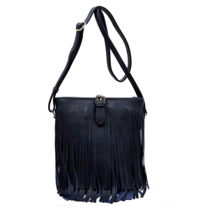 Faux Leather Fringe Hand Bag E090 36831 Navy