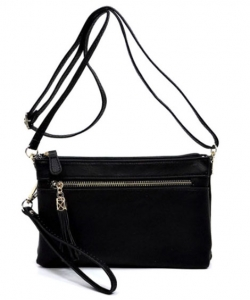 TASSEL ACCENT 3 COMPARTMENT EMBLEM CROSSBODY BAG WU021