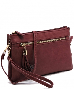 2 Compartments Messager Bag Designer  WU021 BURGANDY