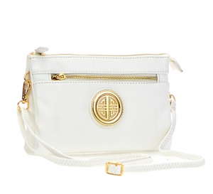 Messenger BagsMetallic Faux Leather Clutch Purse WU021 36837 - White