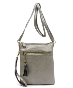 TASSEL ACCENT 3 COMPARTMENT EMBLEM CROSSBODY BAG WU022
