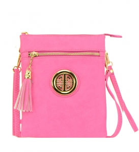 Faux Leather Messenger Bag WU022 36845 Pink