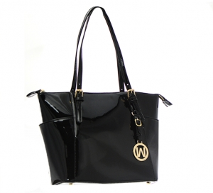 Patent Leather Tote Bag E1009 36868 -Black