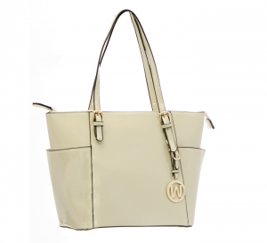 Patent Leather Tote Bag E1009 36868 - Nude